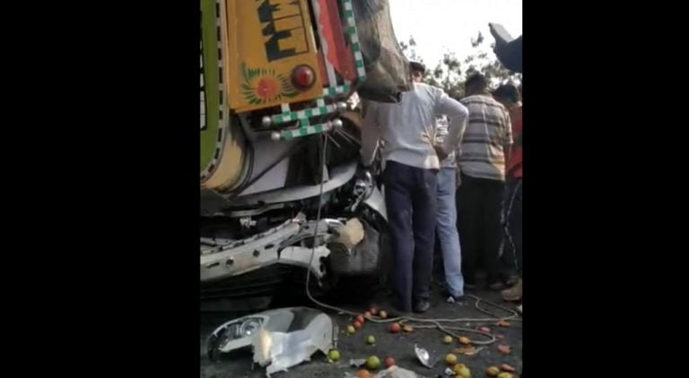 Loaded Truck Crushes Tata Nexon Under It – Passengers Walk Away Safely!