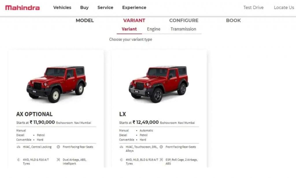 Actuellement, seules les variantes AX Optional et LX du nouveau Thar sont en vente en Inde.
