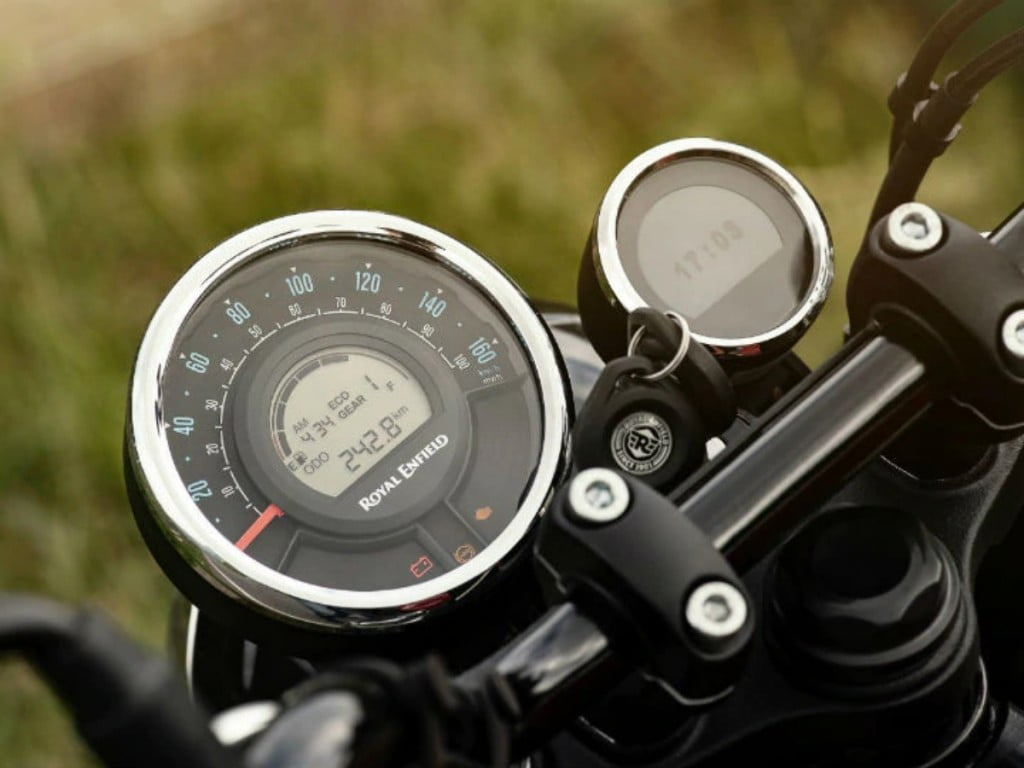 The new Meteor 350 also features smartphone connectivity via Bluetooth, a first for any Royal Enfield motorcycle.