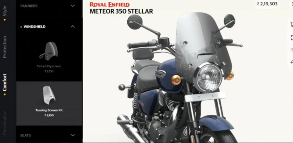 The touring windscreen is among the most useful accessories on the new Royal Enfield Meteor 350.