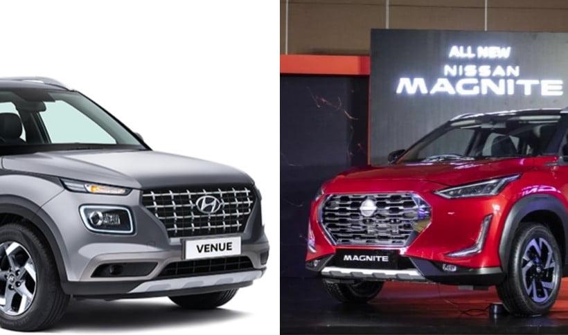 Nissan Magnite Hyundai Venue Exterior Comparisonj