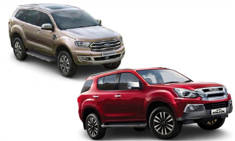 Isuzu mu-X vs Ford Endeavour- Engines, Specs, Features, Prices, Safety Comparison!