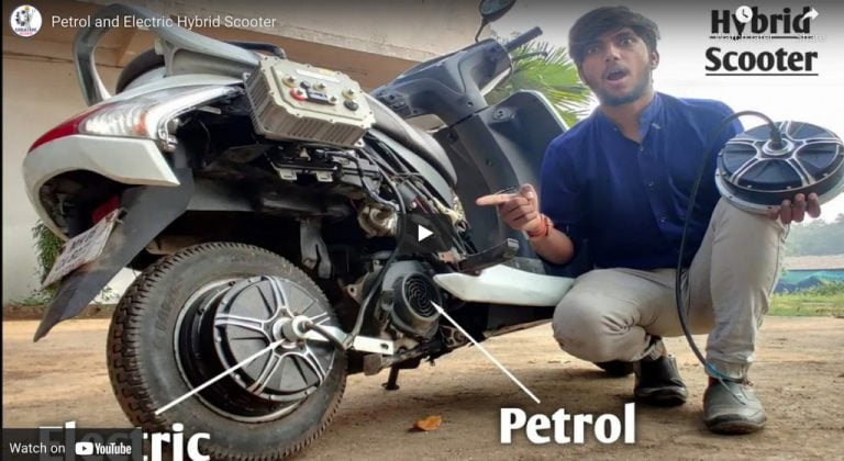 Honda Activa Modified Into Petrol+Electric Hybrid Scooter in Just 4 Hours!