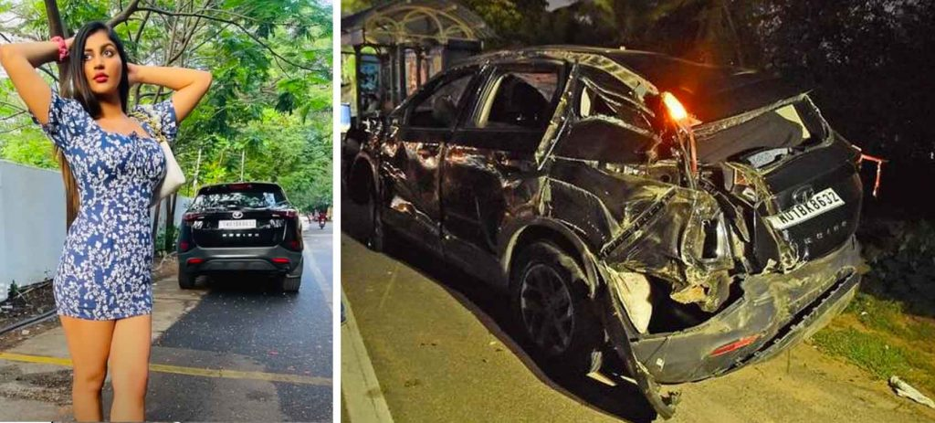 Yashika Aannand Tata Harrier Accident Images
