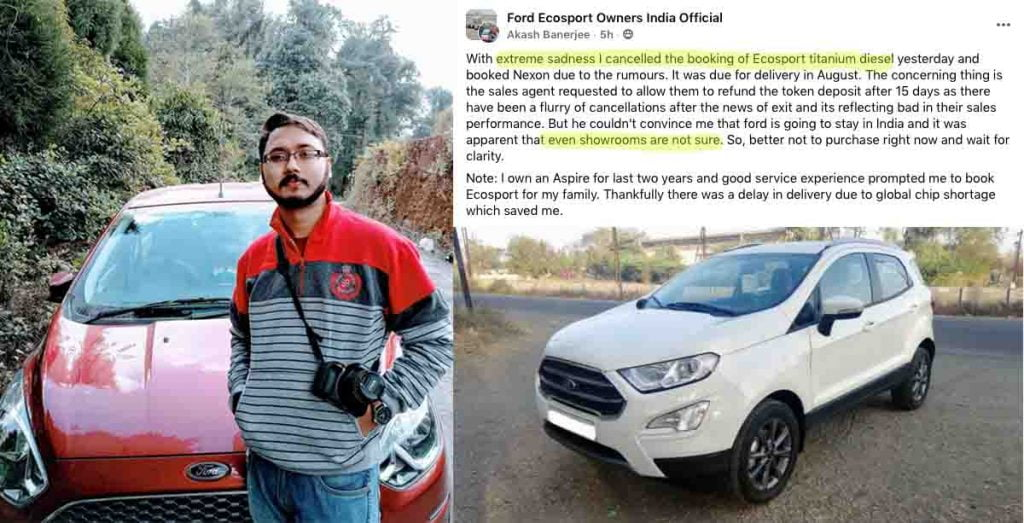ford aspire owner cancels ford ecosport booking
