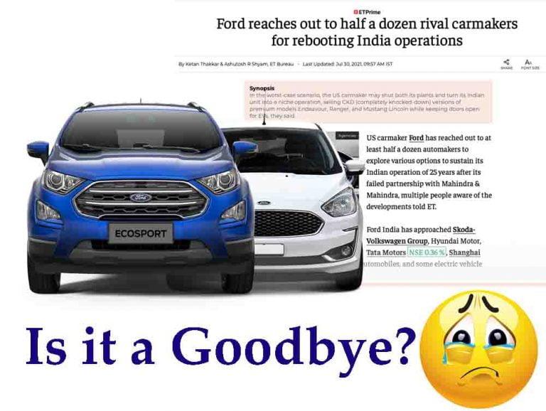 Confirmed- Ford EcoSport, Endeavour and Figo Family To Discontinue