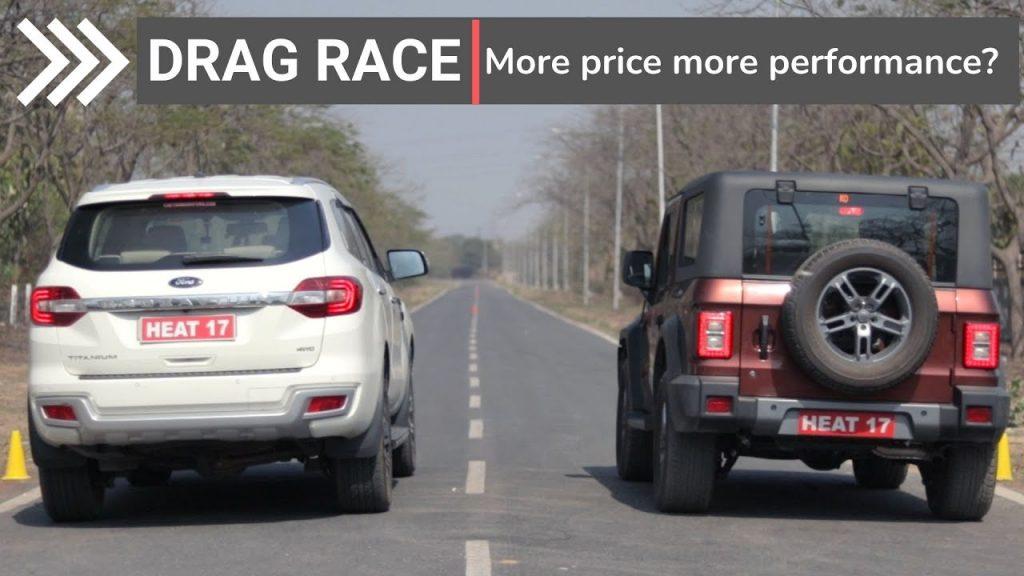 new mahindra thar vs ford endeavour drag race video