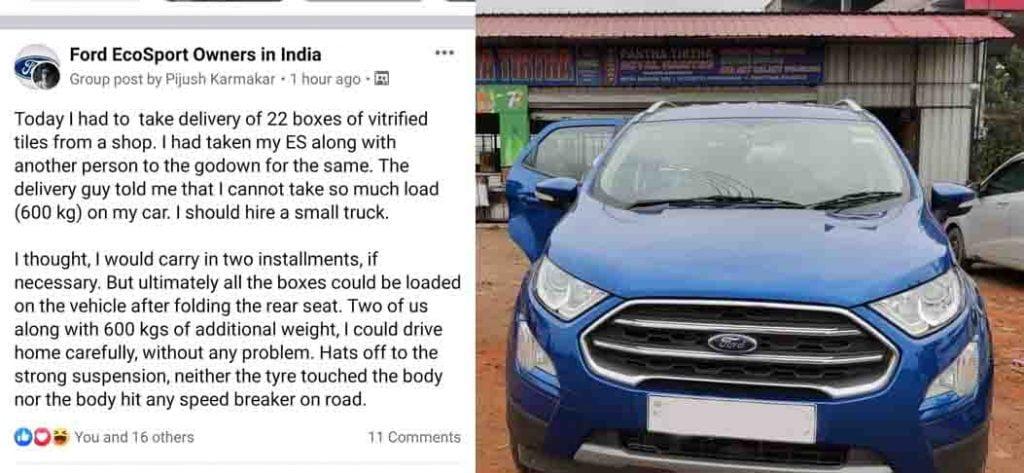 ford ecosport 600kg transport
