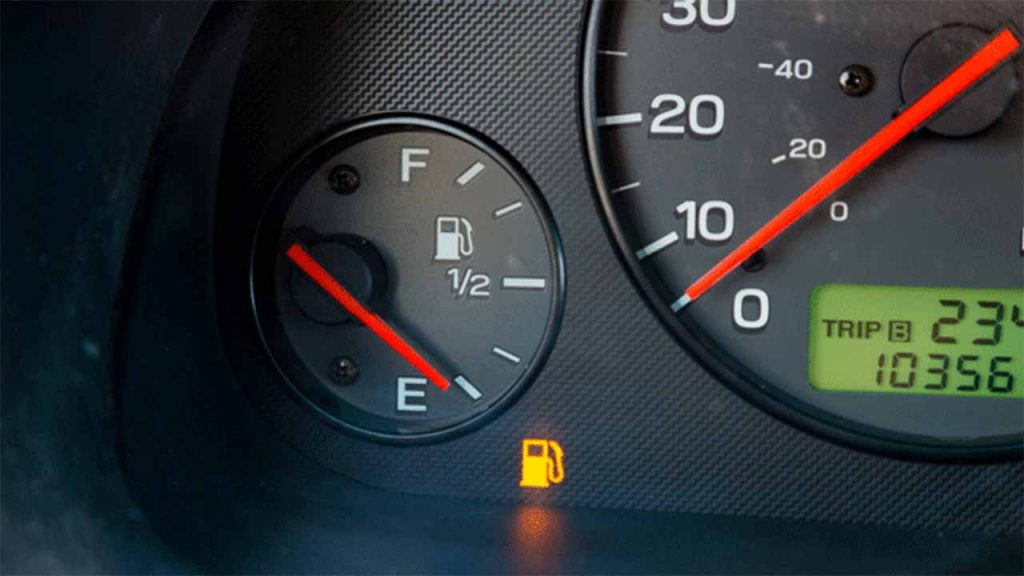 low fuel metre needle on e