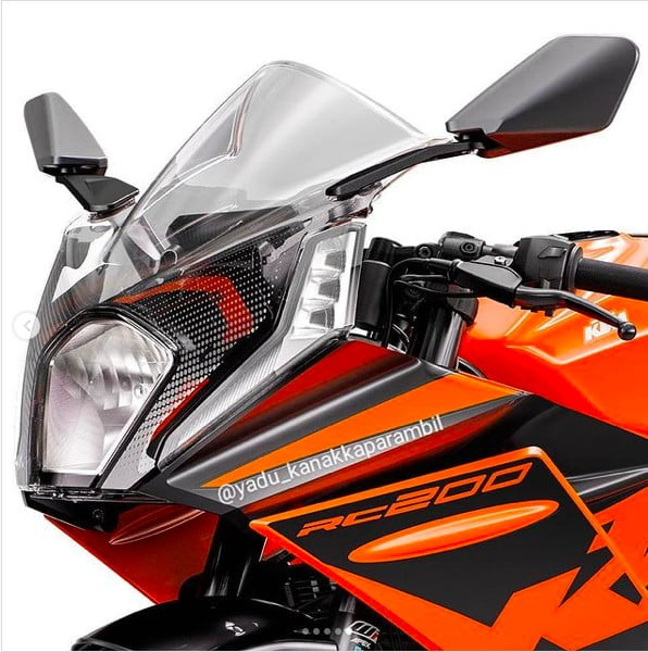 new 2022 ktm rc200 images front fairing headlight