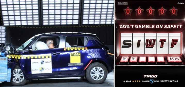 Tata Tiago Mocks Maruti Swift's 0-star L-NCAP Performance!