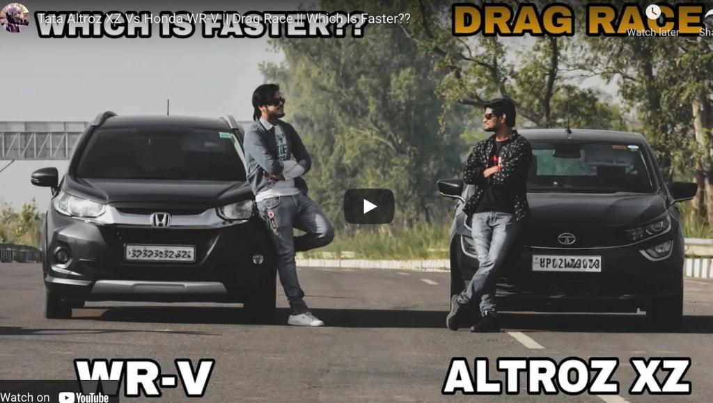 tata altroz vs honda wr-v drag race
