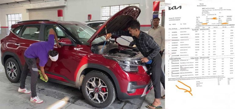 Kia Seltos First Paid Service Bill Shows Rs 200 For Nitrogen Filling