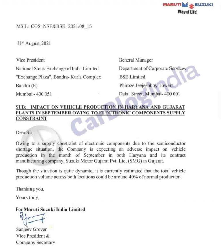 60% Drop in Maruti Suzuki Production Looks Likely – Leaked Internal Mail