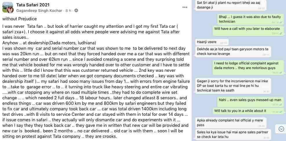 tata safari dealership fraud