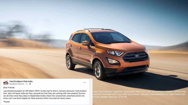 Ford EcoSport Owner To Sue Company For Lying About Not Leaving